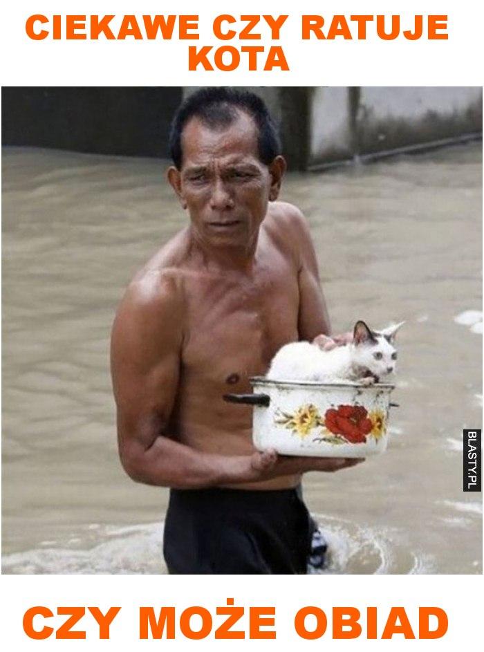 ciekawe czy ratuje kota czy może obiad