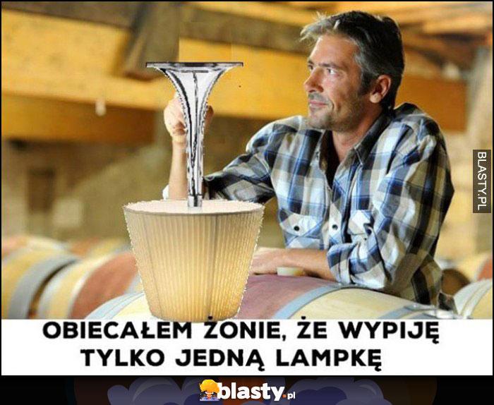 Obiecałem żonie, że wypiję tylko jedną lampkę, wielka lampa do góry nogami
