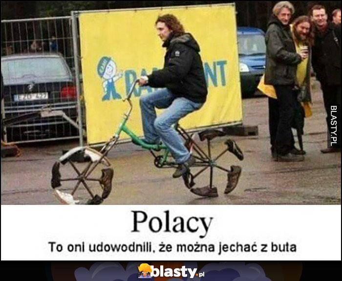 Polacy to oni udowodnili, że można jechać z buta rower przeróbka
