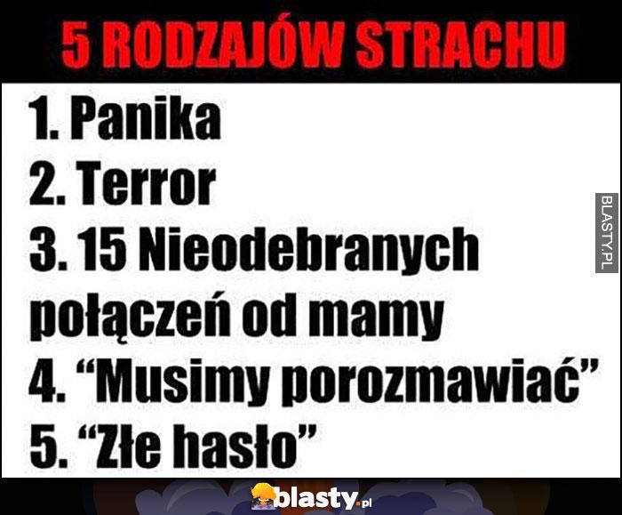 5 rodzajów strachu: panika, terror, 15 nieodebranych od mamy, musimy porozmawiać, złe hasło