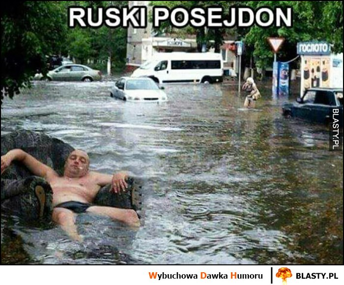 Ruski posejdon facet w slipach na fotelu powódź