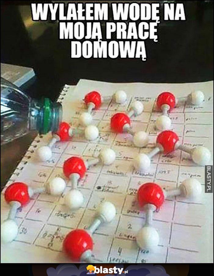 Wylałem wodę na moją pracę domową z chemii cząsteczki wody