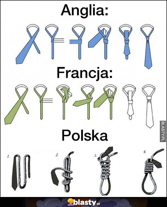 Anglia Francja jak wiązać krawat, Polska jak wiązać sznur żeby się powiesić