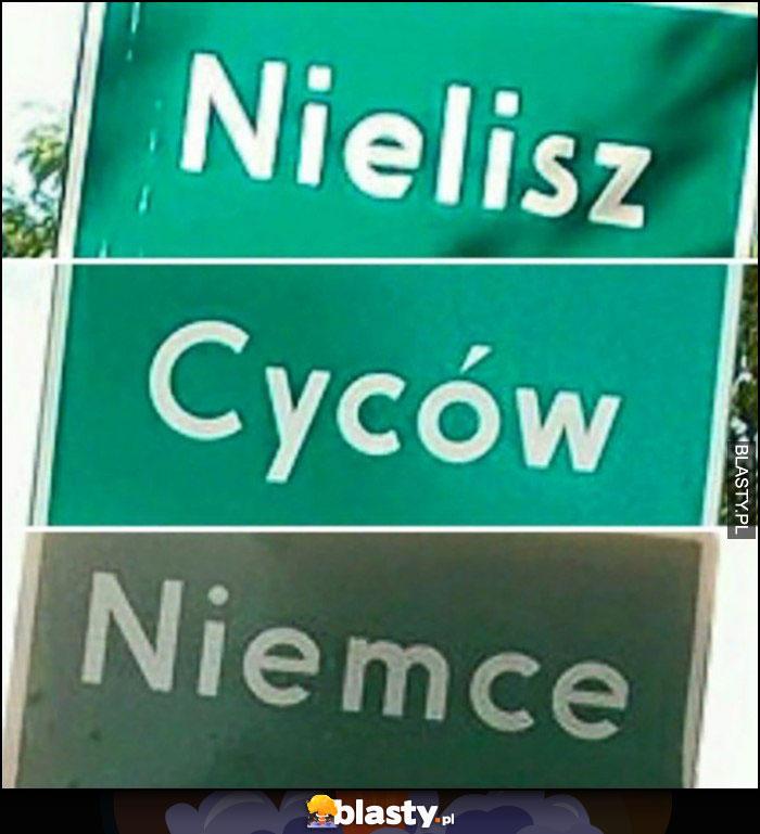 Nazwy tablice miejscowości: nielisz, cyców, niemce