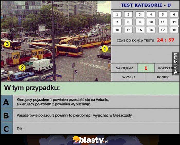 Test na prawo jazdy korek na skrzyżowaniu jak powinien się zachować kierujący