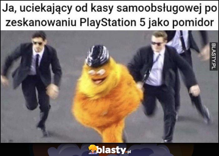 Ja uciekający od kasy samoobsługowej po zeskanowaniu PlayStation 5 jako pomidor