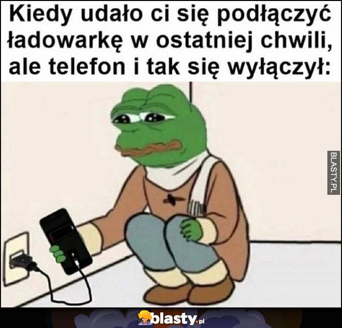 Kiedy udało ci się podłączyć ładowarkę w ostatniej chwili, ale telefon i tak się wyłączył smutna żapa Pepe