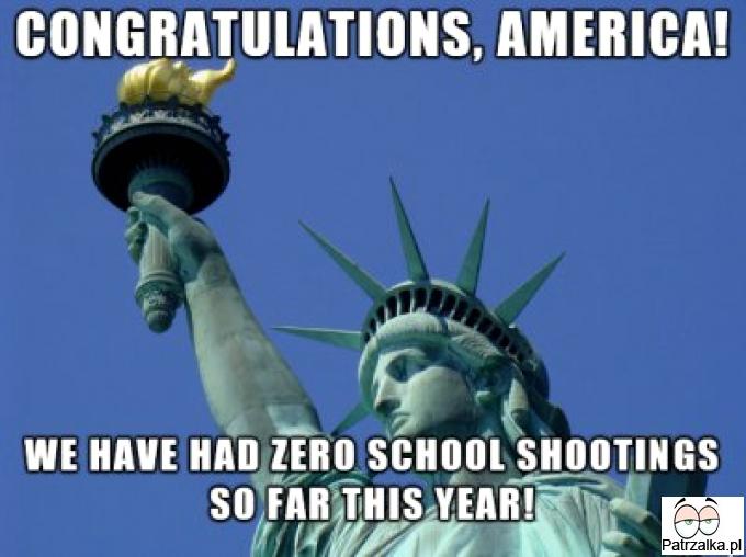 Gratulacje Ameryko, w tym roku nie mieliśmy jeszcze strzelanin w szkołach