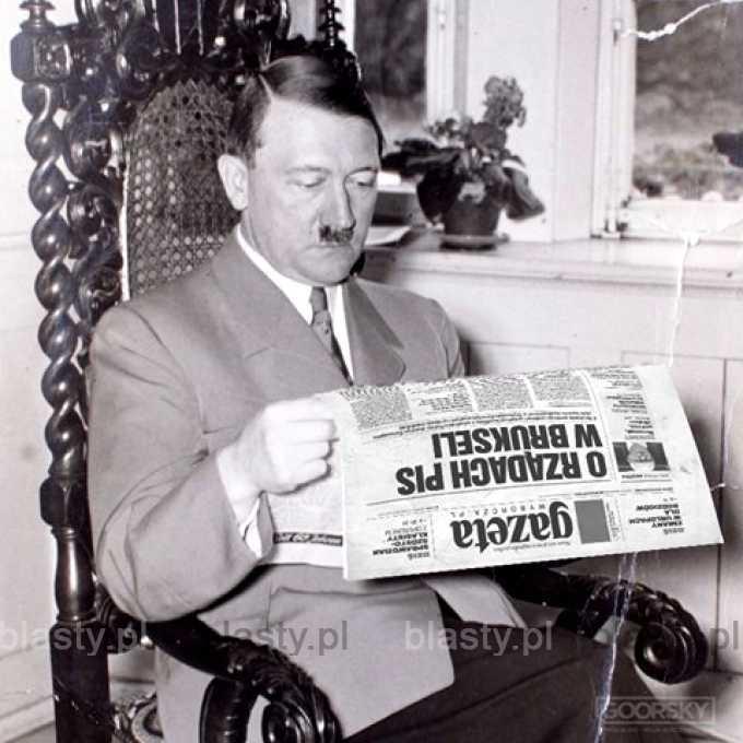 Niepublikowane zdjęcie adolfa hitlera czytającego niemiecką prasę