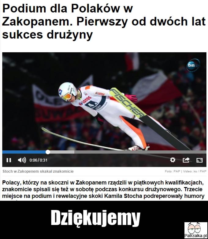 Polscy skoczkowie zajęli trzecie miejsce w skokach drużynowych