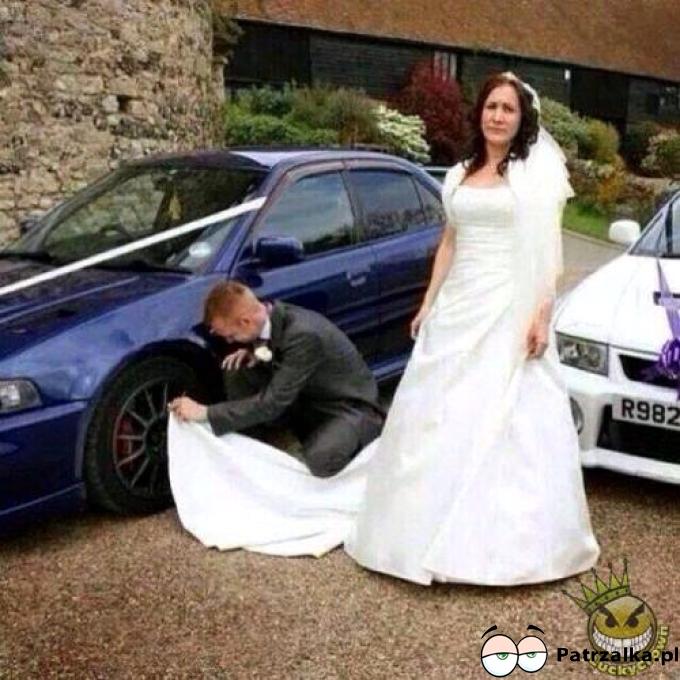 Ślub ślubem ale samochód musi błyszczeć