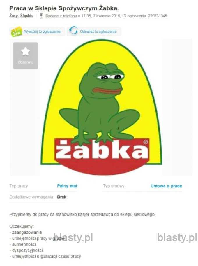 Smutna żabka