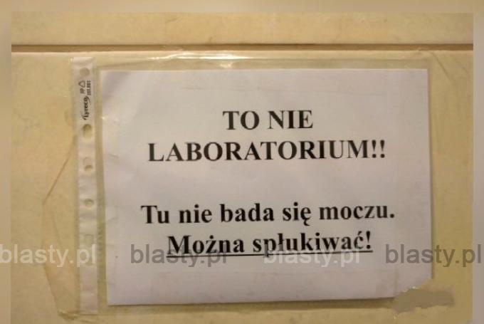 To nie laboratorium tu nie bada się moczu