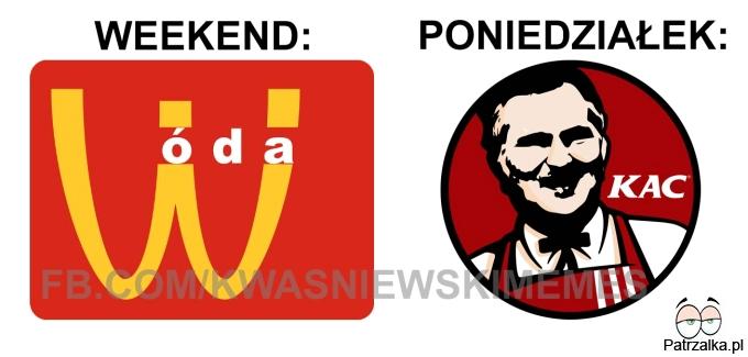 Weekend vs poniedziałek
