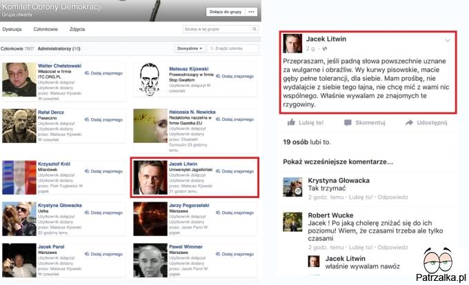 Założyciel KOD o swoich znajomych na facebooku