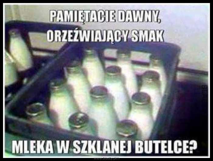 Legendy PRLu mleko w szklanej butelce