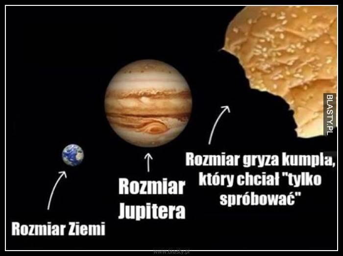 Rozmiar ziemi vs rozmiar jupitera vs rozmiar gryza kumpla