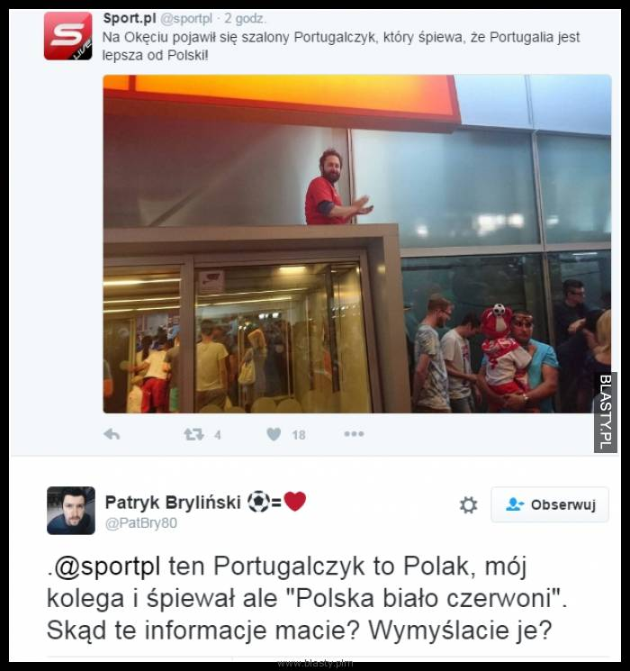 Powitanie piłkarzy reprezentacji polski - szalony portugalczyk
