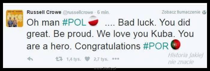 Russel Crow - wierny kibic xD