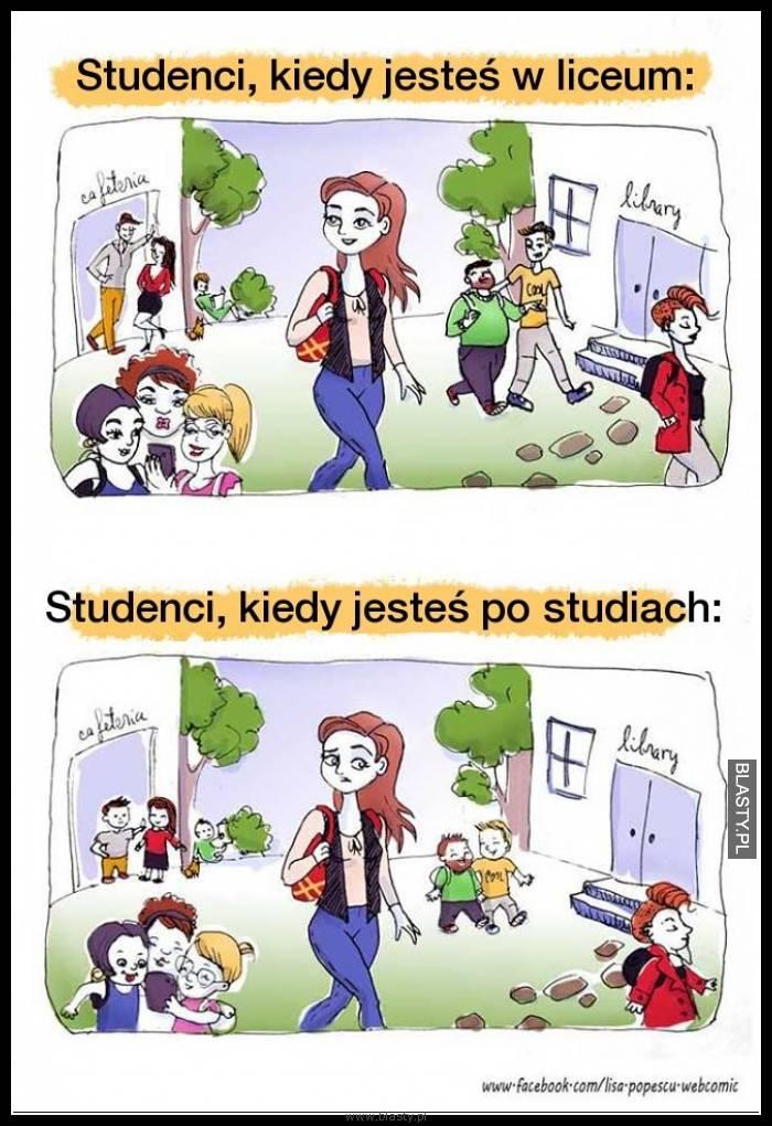 Studenci kiedy jesteś w liceum vs studenci kiedy jesteś po studiach