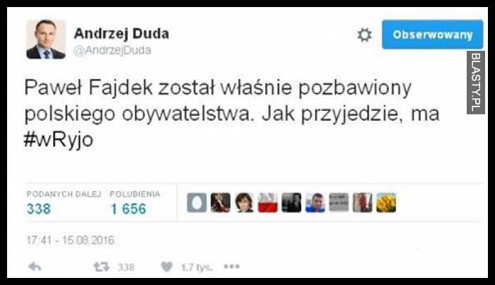 Paweł Fajdek został własnie pozbawiony obywatelstwa