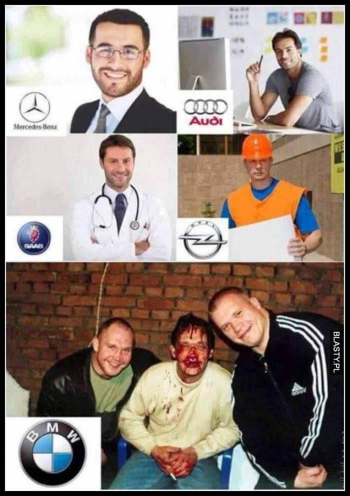 Porównanie Mercedes Benz vs Audi vs SAAB vs Opel vs BMW - pobity koleś