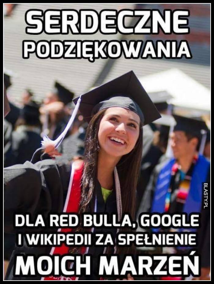 Serdeczne podziękowania dla redbulla google i wikipedii za spełnienie moich marzeń