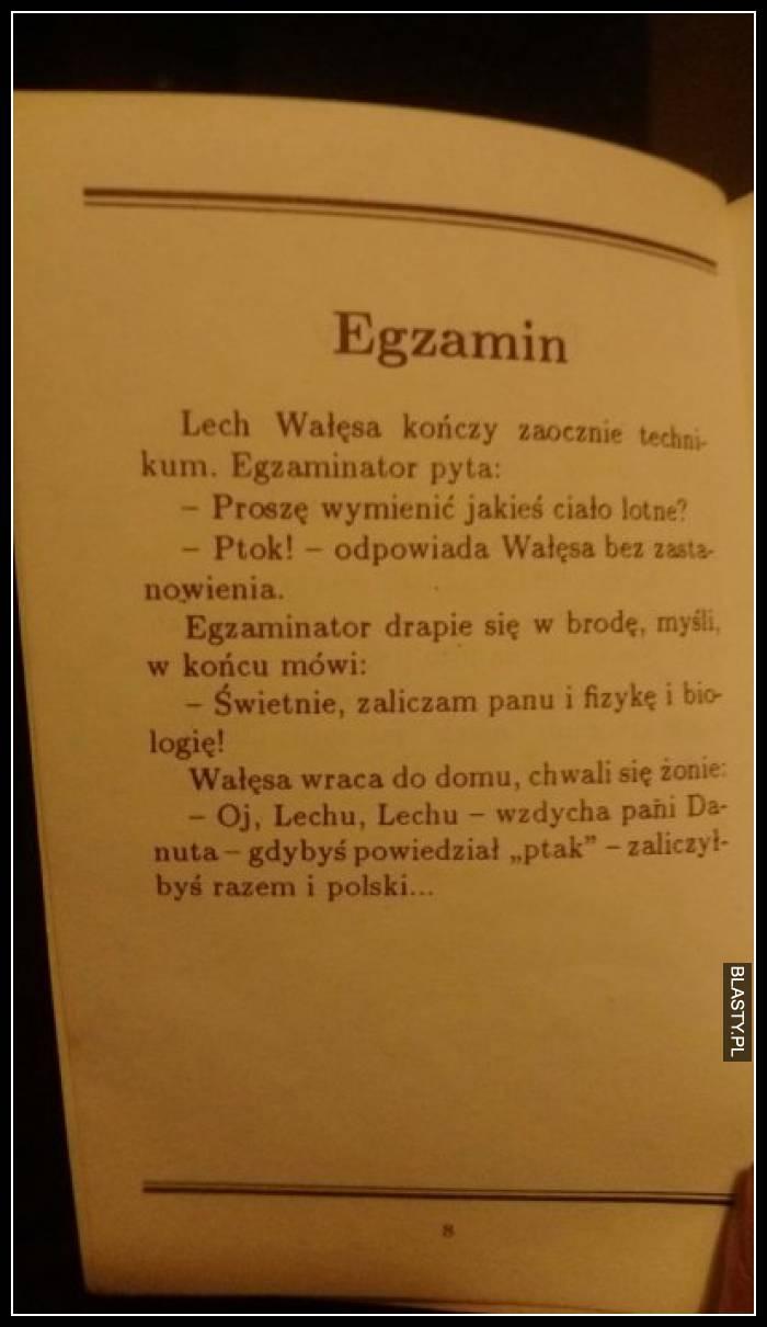 Lech Wałęsa kończy zaocznie techniku, egzaminator pyta