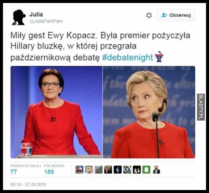 Miły gest Ewy Kopacz. Była premier pożyczyła Hillary Clinton bluzkę, w której przegrała październikową debatę