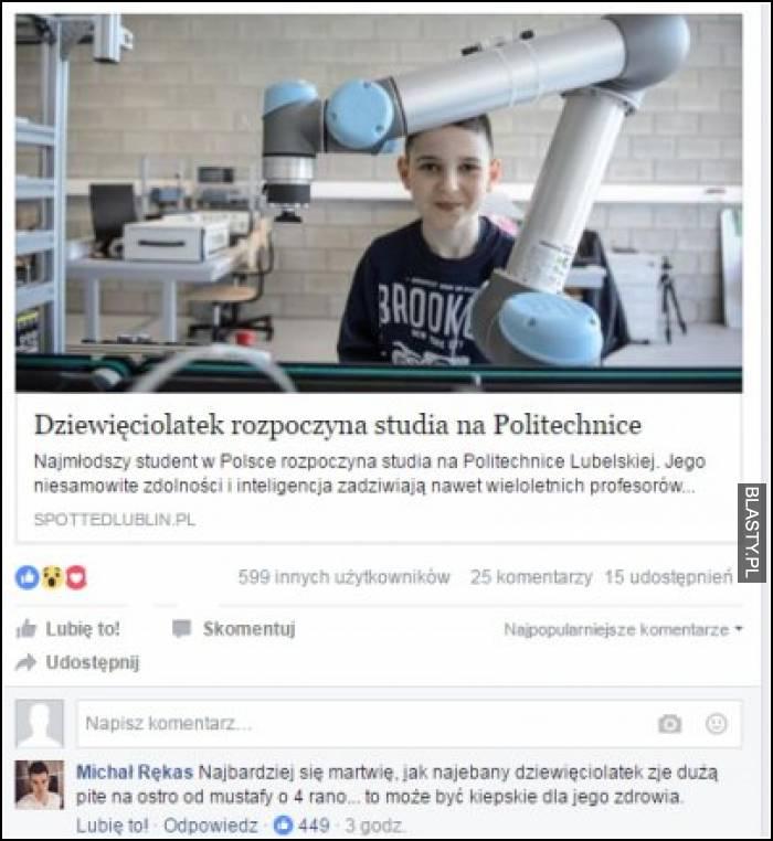 Dziewięciolatek zaczyna studia na politechnice - mistrzowski komentarz jednej z osób pod artykułem