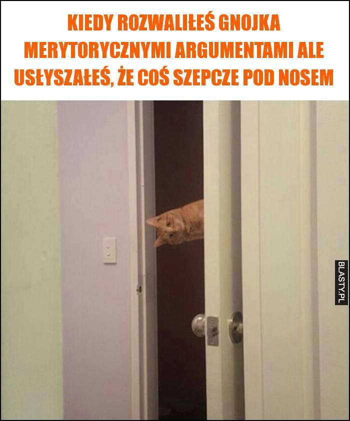 Kiedy rozwaliłeś gnojka merytorycznymi argumentami ale usłyszałeś, że coś szepcze pod nosem