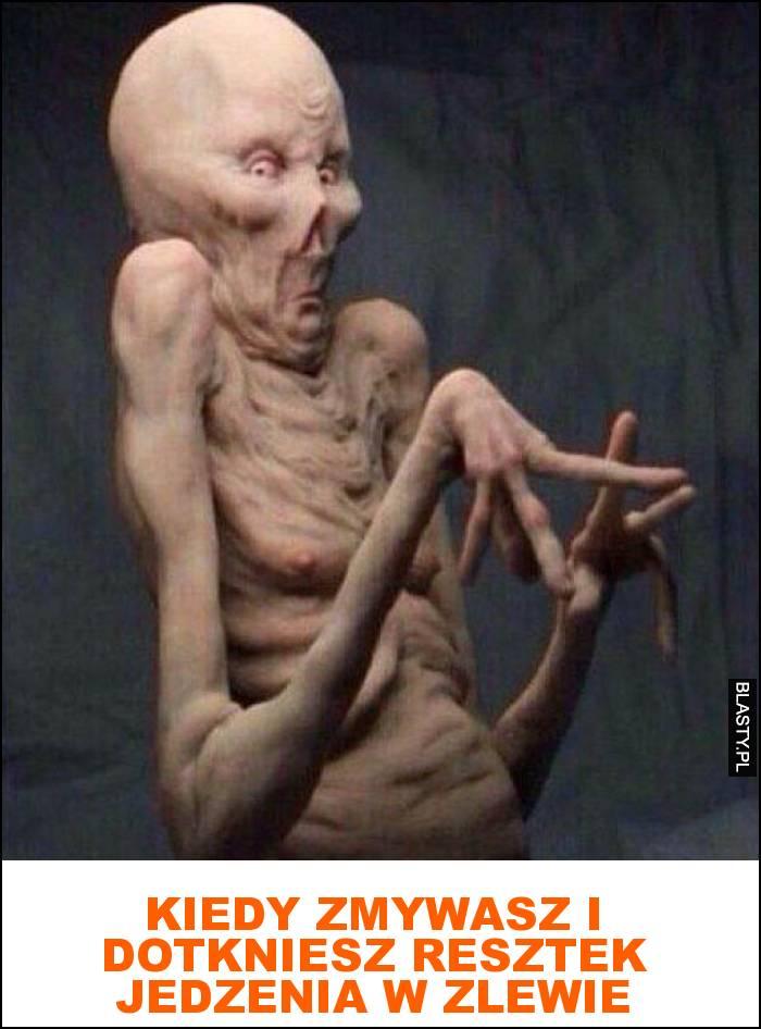 Kiedy zmywasz i dotkniesz resztek jedzenia w zlewie