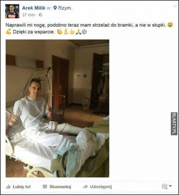 Oświadczenie Arka Milika ze szpitala