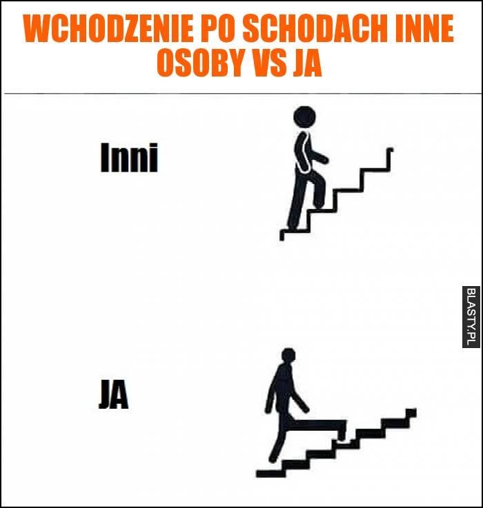 Wchodzenie po schodach inne osoby vs Ja