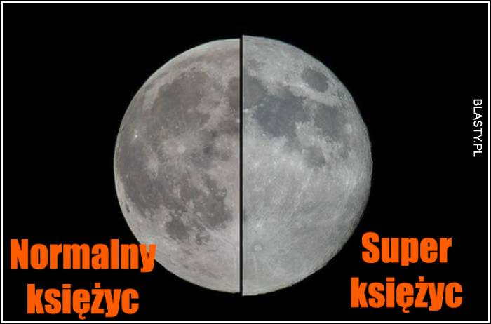Normalny księżyc vs super księżyc