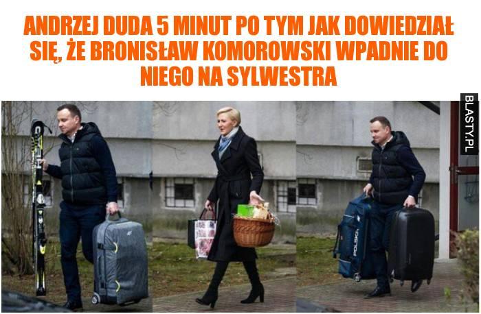 Andrzej Duda 5 minut po tym jak dowiedział się, że Bronisław Komorowski wpadnie do niego na sylwestra