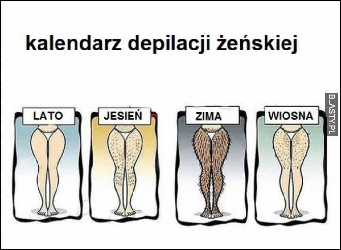 kalendarz depilacji żeńskiej
