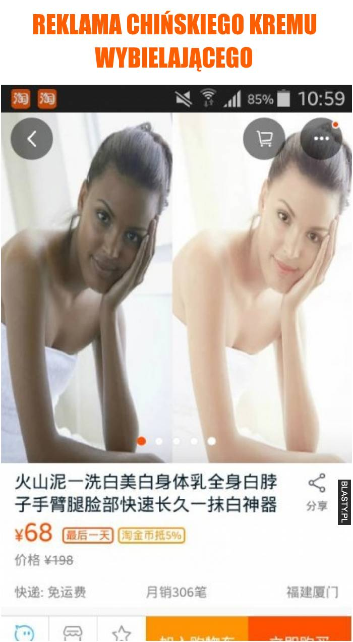 Reklama chińskiego kremu wybielającego