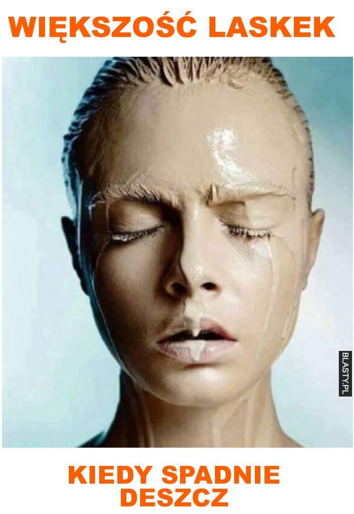 Większość laskek kiedy spadnie deszcz