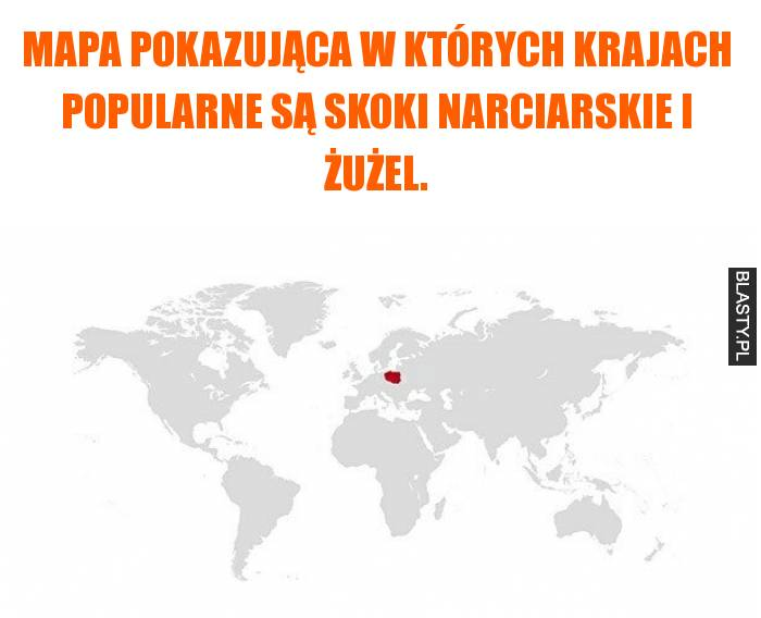 Mapa pokazująca w których krajach popularne są skoki narciarskie i żużel.