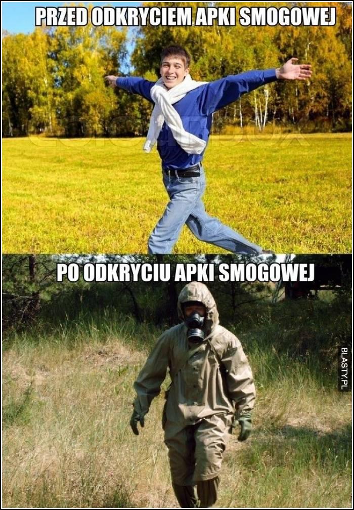 Przed odkryciem apki smogowej vs po odkryciu
