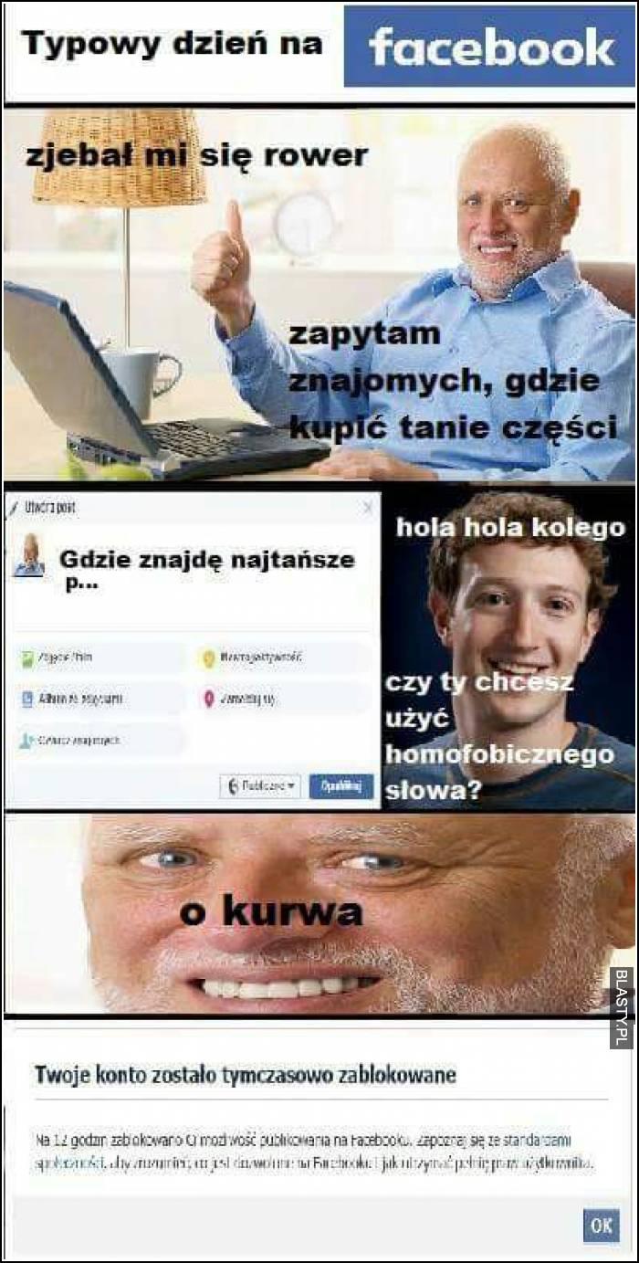 typowy dzień na Facebooku
