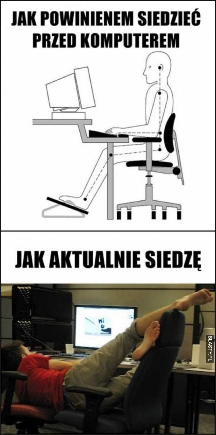 jak powinno się siedzieć przed komputerem