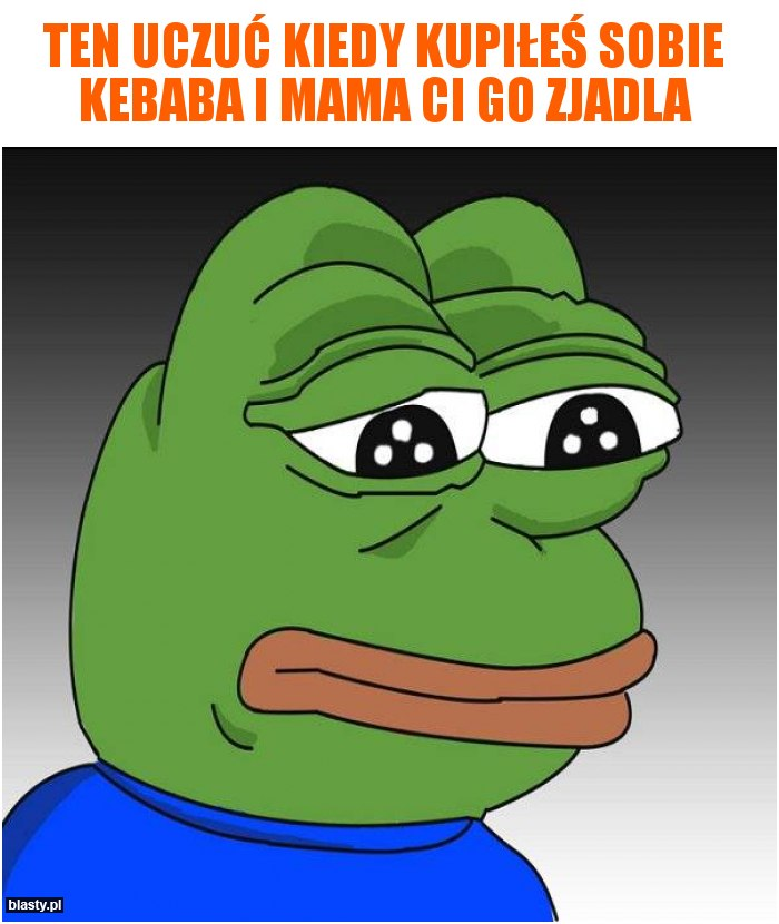 Ten uczuć kiedy kupiłeś sobie kebaba i mama Ci go zjadla