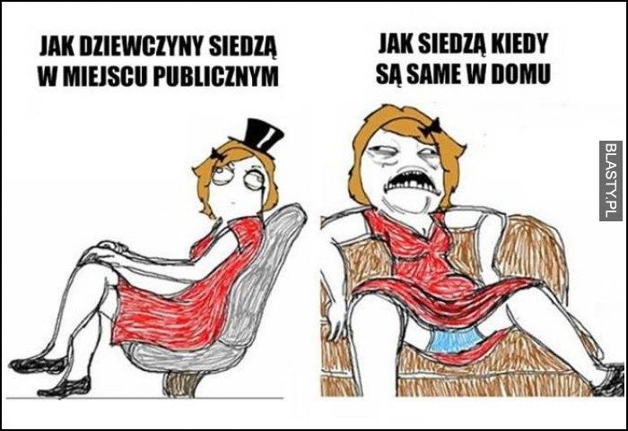 Jak dziewczyny siedzą w miejscu publicznym