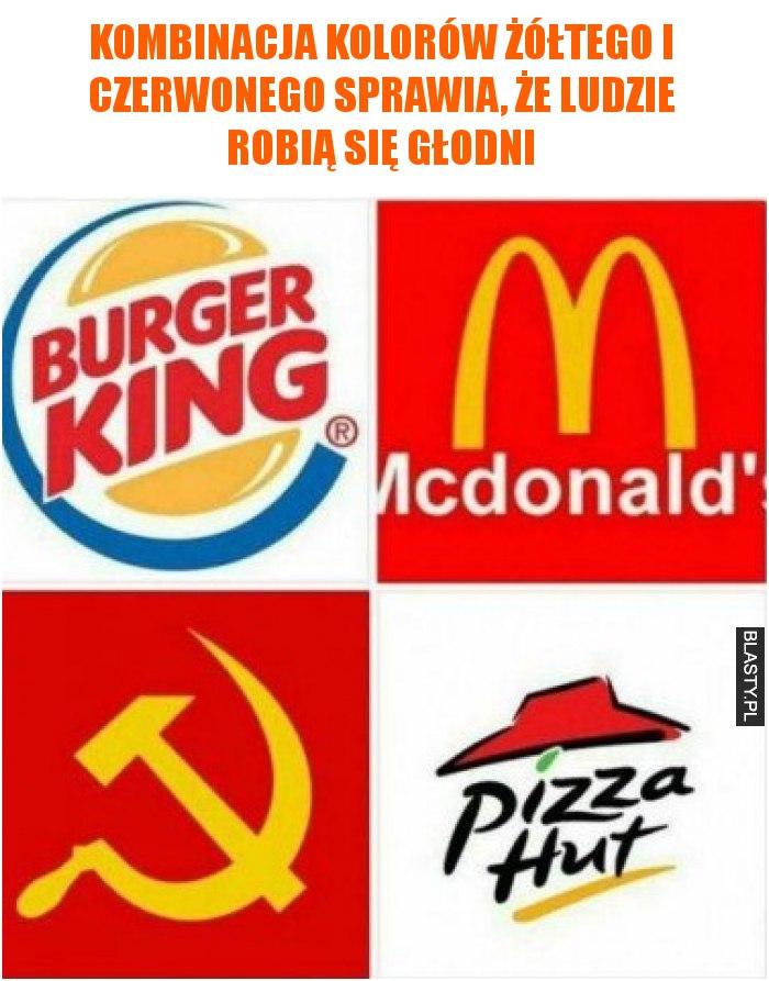 Kombinacja kolorów żółtego i czerwonego sprawia, że ludzie robią się głodni