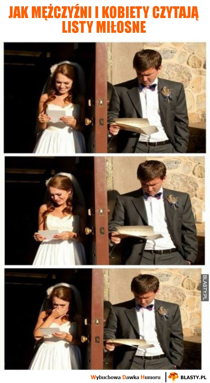 Jak mężczyźni i kobiety czytają listy miłosne