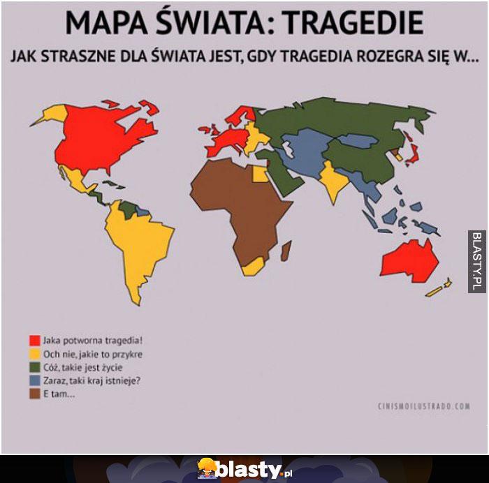 Mapa świata i jej tragedie
