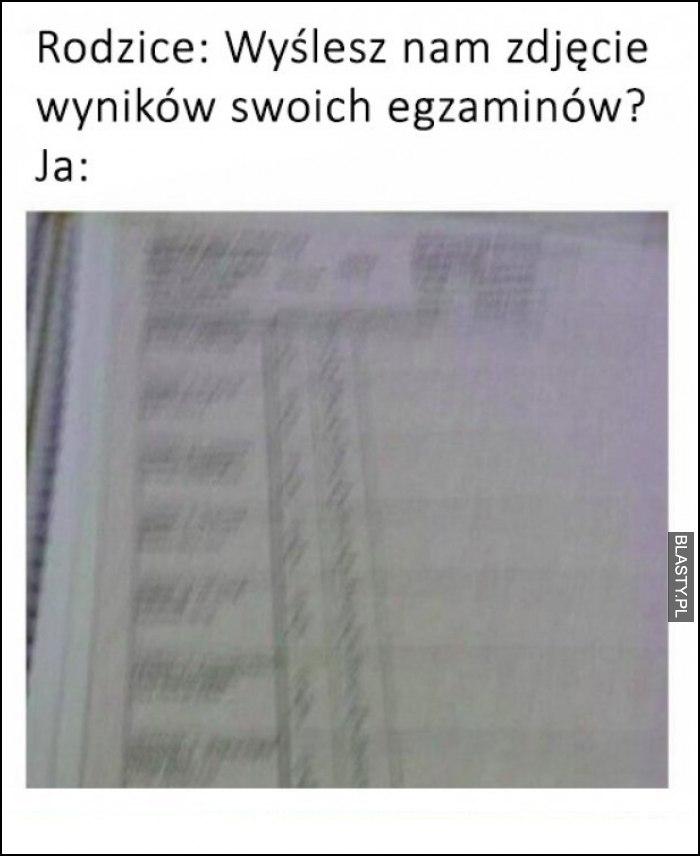 Wyniki egzaminów w szkole