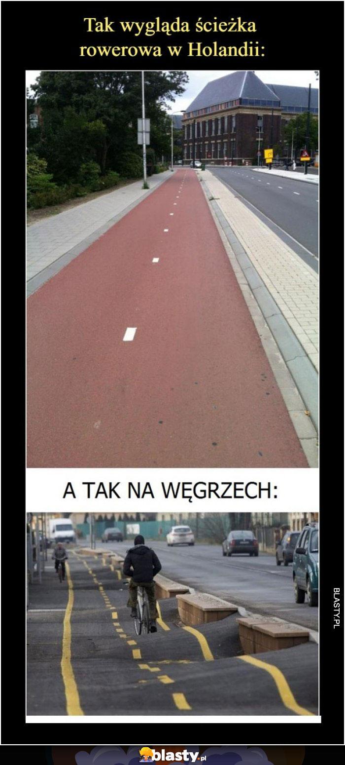 Ścieżka rowerowa w Holandii i na Węgrzech